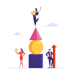 successful business team celebrate victory posing vector image