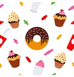 Sweet Food Fast Food Cake Donut Seamless Pattern vector