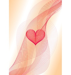 Sweet heart wavy card vector
