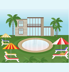 swimming pool background with sunbeds and umbrella vector image