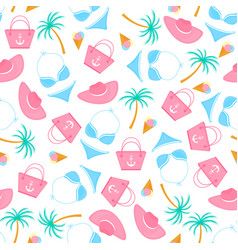 swimsuit ice-cream palm tree bag beach vector image