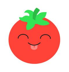 Tomato cute kawaii flat design long shadow vector