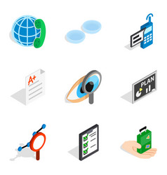 Trouble with job icons set isometric style vector