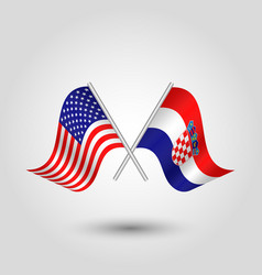 Two crossed american and croatian flags on pole vector