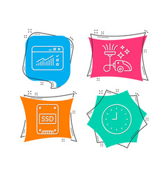 Vacuum cleaner ssd and web traffic icons clock vector