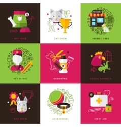 veterinary icons compositions vector image