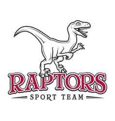 Vintage Jurassic raptor Logo Dino sport mascot vector