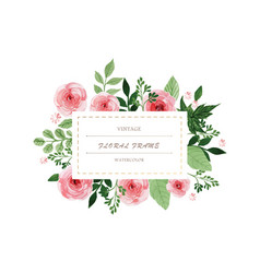 watercolor vintage flowers wreath hand painted vector image
