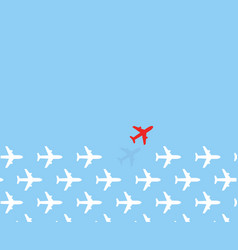 white airplanes group fly in one direction and vector image