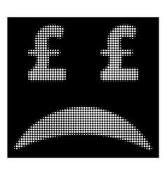 White halftone pound bankrupt sad emotion icon vector