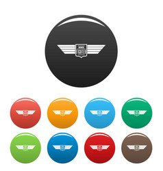 wings fighter icons set color vector image