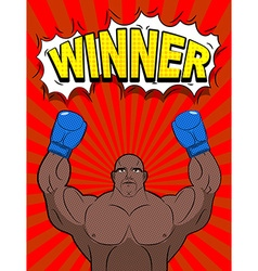 Winner in style of pop art African American boxer vector image