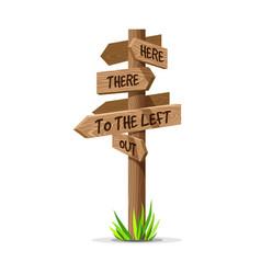 Wooden arrow direction signboard vector