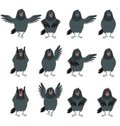 Flat icons of Ravens set vector image