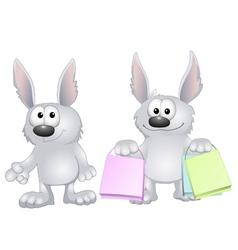 funny rabbits vector image vector image
