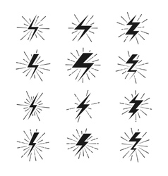 Retro lightning bolt signs with sunburst effect vector image