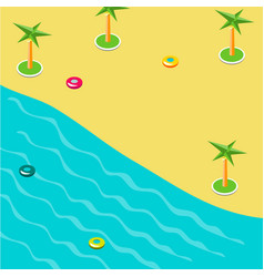 summer concept of sandy beach in isometric vector image