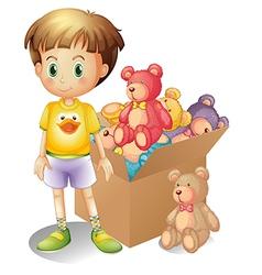 A boy beside a box of toys vector image vector image