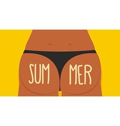 Girl Tan Ass in panties Summer Bikini S vector image