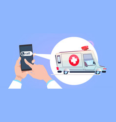hand hold smart phone calling in emergency service vector image