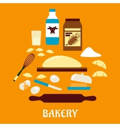 Process of kneading dough in flat style vector image