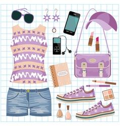 Youth fashionable set vector image