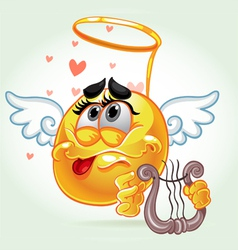 cheerful smile in costume angel with a harp vector image vector image