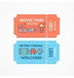 Cinema Tickets Flat Icon Set vector image