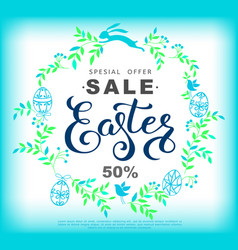 easter sale banner with wreath made of blue vector image