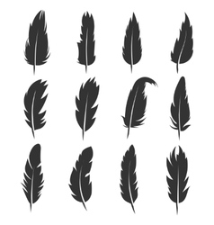Feather antique pen black icons isolated vector image