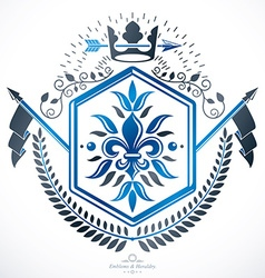 Heraldic Coat of Arms decorative emblem isolated vector image