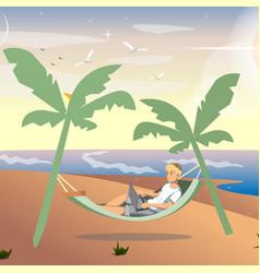 man freelancer working on sea vector image vector image
