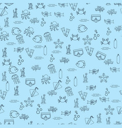 seamless background with fish and equipment vector image