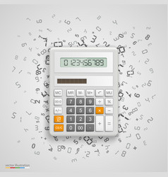 calculator with icons on background vector image vector image