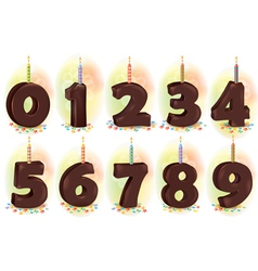 Chocolate numbers candles for holiday cake vector image vector image