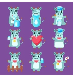 Cute Cow Character Set vector image vector image