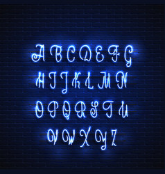 latin neon font glowing alphabet electric stand vector image