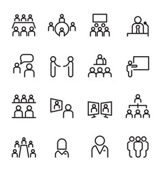 meeting conference icon set thin line icons vector image vector image
