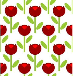 Red Tulip seamless pattern flower background Retro vector image vector image