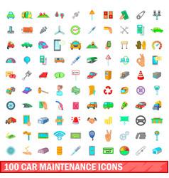 100 car maintanance icons set cartoon style vector image