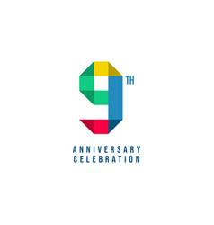 9 th anniversary celebration template design vector