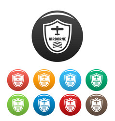airborne badge icons set color vector image