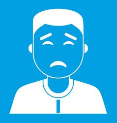Asian man icon white vector