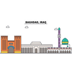 baghdad iraq outline skyline arab flat thin line vector image