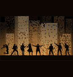band show on night city background at gold style vector image