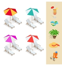 Beach icon set Orange juice sun umbrella palm vector