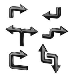 black 3d arrows different directions vector image