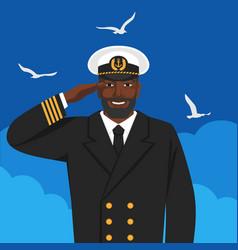 black male captain sea ship in uniform saluting vector image
