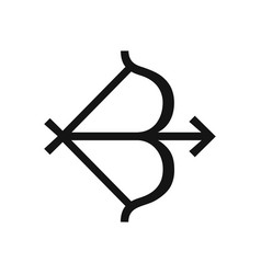 bow and arrow simple black icon zodiac sign vector image