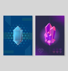 Bright crystals and geometrical patterns posters vector